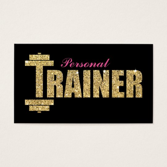 PERSONAL TRAINER BUSINESS CARDS GLITTER GOLD Zazzlecom - Personal trainer business cards templates