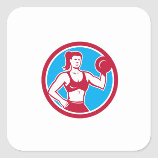 Personal Trainer Female Lifting Dumbbell Circle Square Sticker