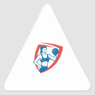 Personal Trainer Female Lifting Dumbbell Retro Triangle Sticker