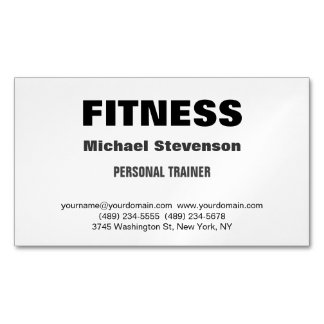 Personal Trainer Fitness Trendy Stylish Magnetic Business Card
