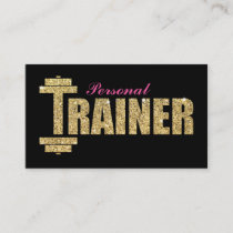 Personal Trainer | Girly Pink Gold Glitter Business Card