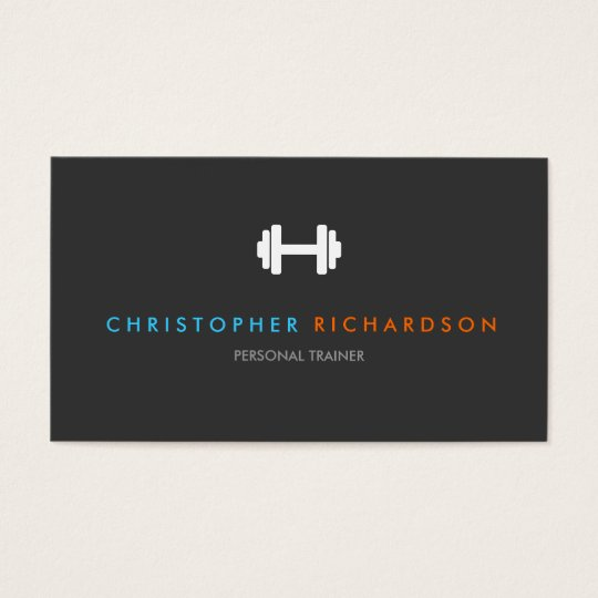 PERSONAL TRAINER LOGO with BLUE and ORANGE TEXT Business Card | Zazzle