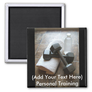 Personal Trainer or Fitness Dumbells Towel & Water 2 Inch Square Magnet