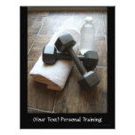 """Personal Trainer or Fitness Dumbells Towel & Water 8.5"""" X 11"""" Flyer"""