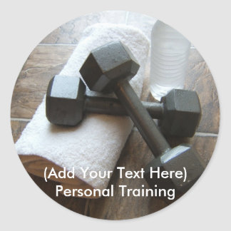 Personal Trainer or Fitness Dumbells Towel & Water Classic Round Sticker