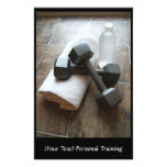 """Personal Trainer or Fitness Dumbells Towel & Water 5.5"""" X 8.5"""" Flyer"""