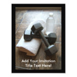 """Personal Trainer or Fitness Dumbells Towel & Water 4.25"""" X 5.5"""" Invitation Card"""