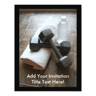 Personal Trainer or Fitness Dumbells Towel & Water Invitations