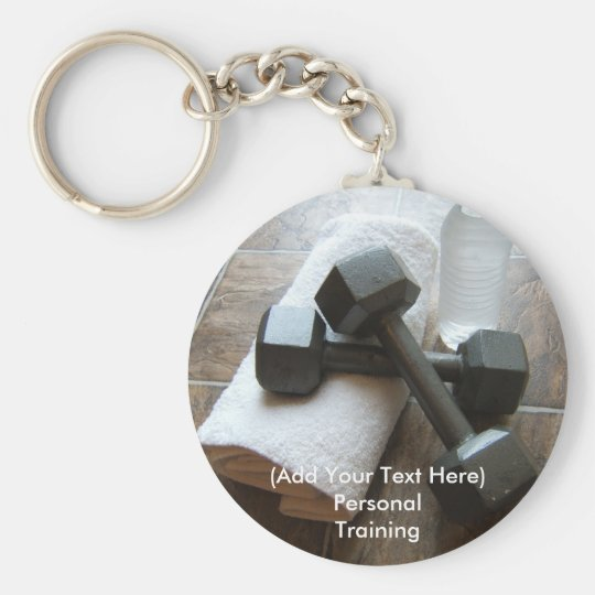 Personal Trainer or Fitness Dumbells Towel & Water Keychain