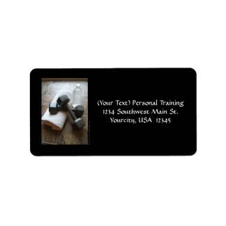 Personal Trainer or Fitness Dumbells Towel & Water Label