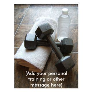 Personal Trainer or Fitness Dumbells Towel & Water Post Card