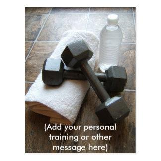 Personal Trainer or Fitness Dumbells Towel & Water Postcard