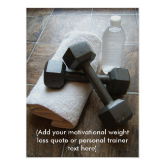Personal Trainer or Fitness Dumbells Towel & Water Poster