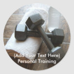 Personal Trainer or Fitness Dumbells Towel & Water Round Sticker