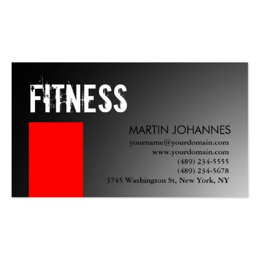 Personal Trainer Red Gray Business Card