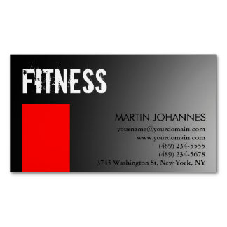 Personal Trainer Red Gray Magnetic Business Card