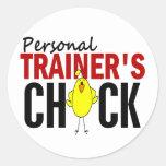 PERSONAL TRAINER'S CHICK CLASSIC ROUND STICKER