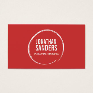 PERSONAL TRAINER SKETCH LOGO on Red Business Card