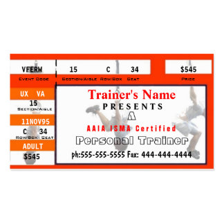 Personal Trainer Ticket Design Double-Sided Standard Business Cards (Pack Of 100)