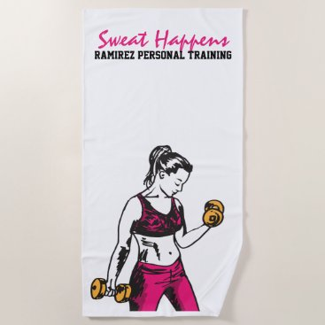 Beach Themed Personal Training Woman Weightlifting Towel