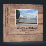 """Personal travel holiday rustic wood photo album 3 ring binder<br><div class=""""desc"""">Personal travel,  holiday,  family custom photo album Binder. Rustic barn wood design. You can personalize it and add your own photo and text at the front and at the spine.</div>"""
