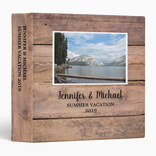 Personal travel holiday rustic wood photo album 3 ring binder