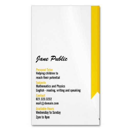 Personal Tutor Pencil Business Card Magnets Magnetic