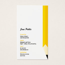 Personal Tutor Teacher Pencil Business Card