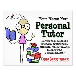 "Personal Tutor.Tutoring.Study Help. Promotional 4.5"" X 5.6"" Flyer"