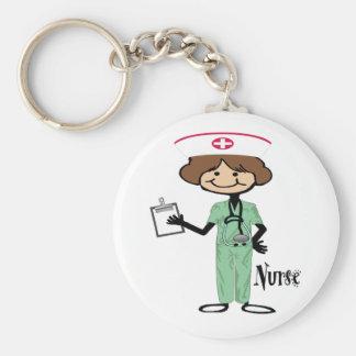 Personalice a la enfermera de sexo femenino llavero redondo tipo pin
