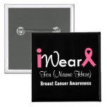 Personalice al cáncer de pecho rosado de la cinta pins