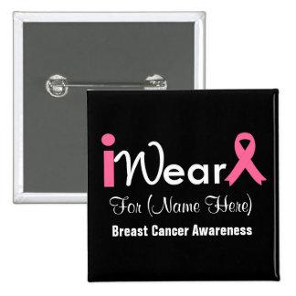 Personalice al cáncer de pecho rosado de la cinta pin cuadrado