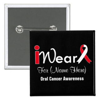 Personalice al cáncer oral de la cinta roja y pin cuadrado