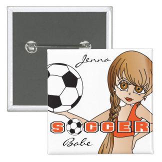 Personalice al chica lindo del fútbol anaranjado