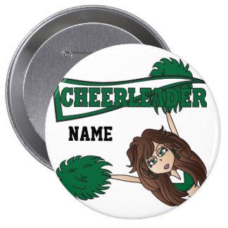 Personalice al chica verde oscuro de la animadora pin redondo de 4 pulgadas