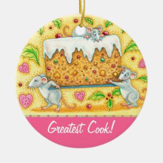 Personalice al cocinero más grande del ornamento adorno navideño redondo de cerámica