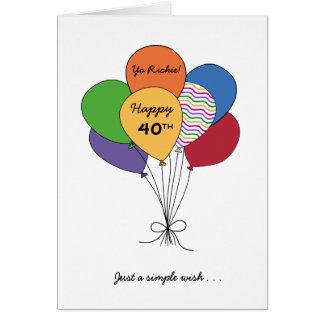 Personalice con el 40.o deseo del cumpleaños de tarjeta de felicitación