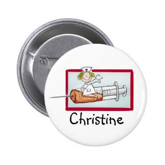 Personalice con el nombre - botón para Supernurse Pin Redondo De 2 Pulgadas