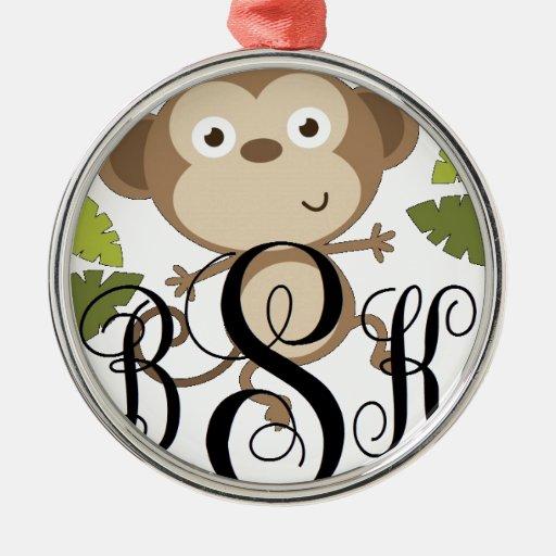 Personalice con sus iniciales adorno navideño redondo de metal