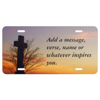 (Personalice) cruz santa en la puesta del sol Placa De Matrícula