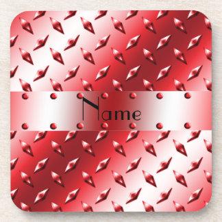 Personalice el acero rojo conocido de la placa del posavasos de bebida