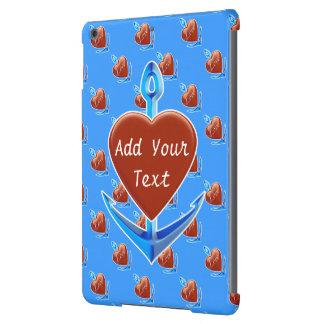 Personalice - el ancla azul con forma roja del cor funda para iPad air
