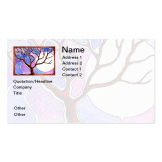 Personalice el árbol y la luna - rosa azul de la tarjetas de visita