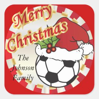 Personalice el balón de fútbol de Felices Navidad Pegatinas Cuadradases Personalizadas