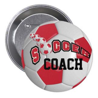 Personalice el balón de fútbol el | rojo oscuro pin redondo 7 cm