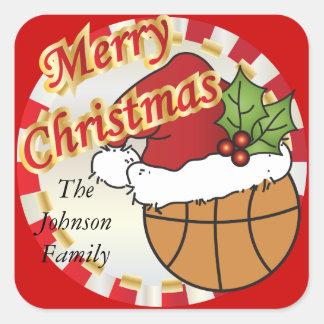 Personalice el baloncesto de las Felices Navidad Colcomanias Cuadradases