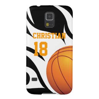 Personalice el baloncesto llameante B/W Fundas Para Galaxy S5
