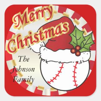 Personalice el béisbol de las Felices Navidad Calcomanías Cuadradass