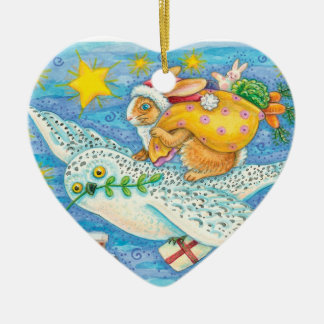 Personalice el conejito del navidad y el ornamento adorno navideño de cerámica en forma de corazón