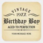 Personalice el cumpleaños divertido pegatina cuadradas personalizadas
